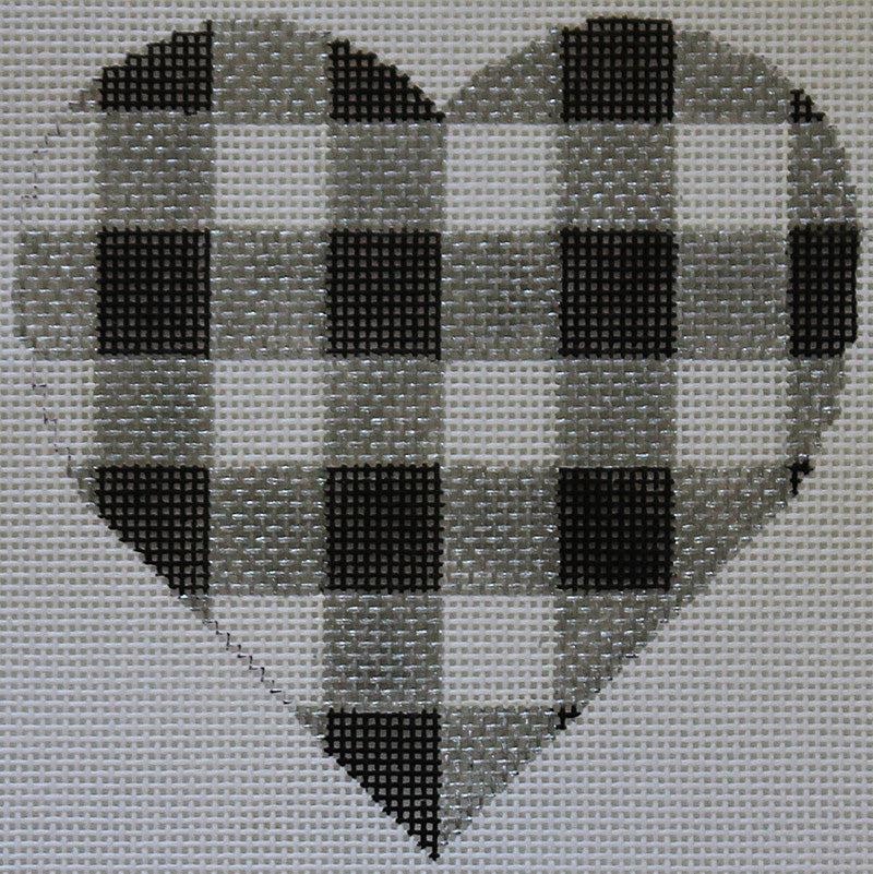 Checkerboard heart Needlepoint Ornament