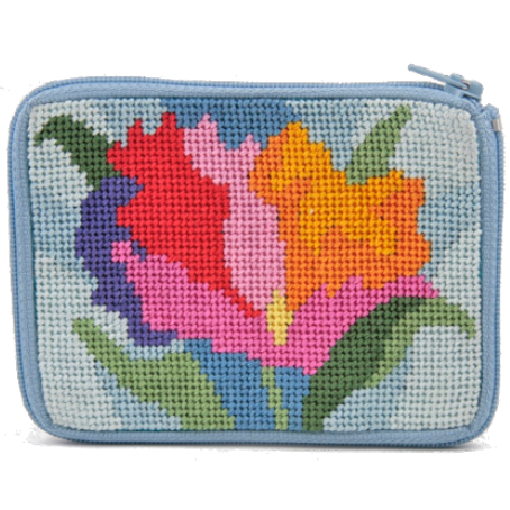 watercolor poppies needlepoint coin purse