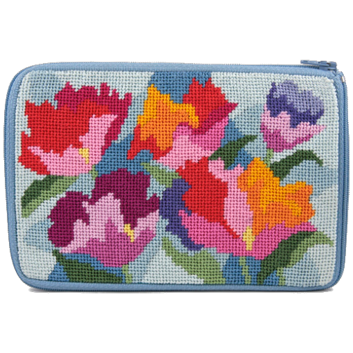 watercolor poppies needlepoint purse by stitch and zip
