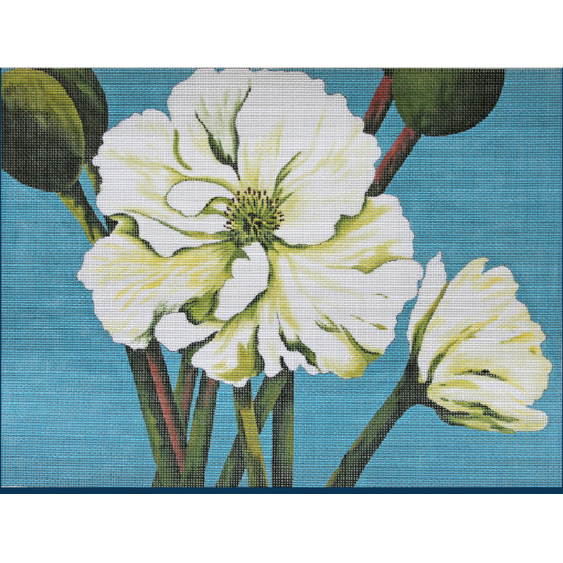 White Poppies needlepoint by Karen Dukes