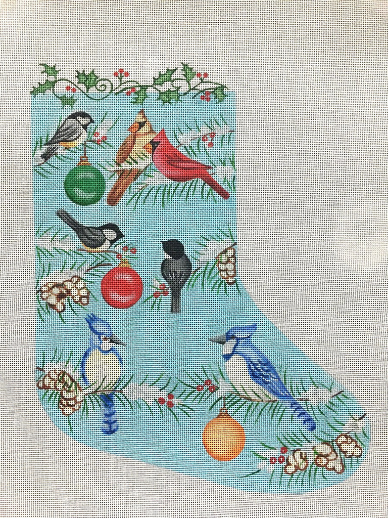 Winter Birds Needlepoint Christmas Stocking by Nenah Stone