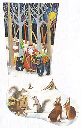 Woodland Santa Christmas Stocking - in stock  - Canvas Only