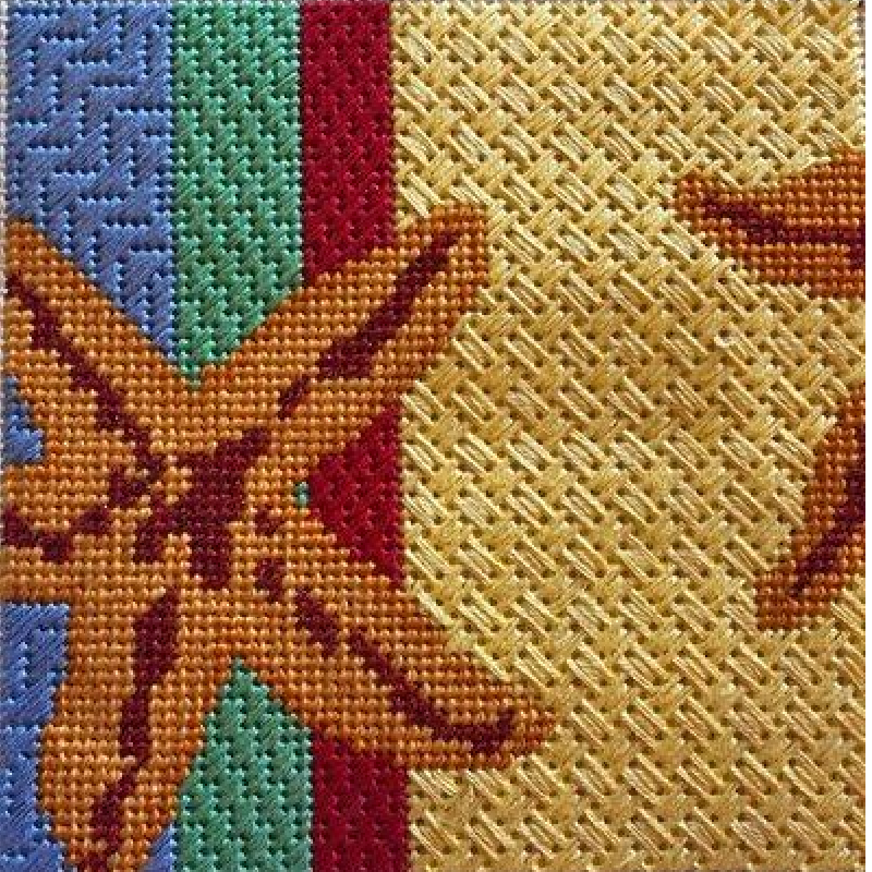 Colorful Starfish needlepoint canvas by Kamala and JulieMar and Friends.