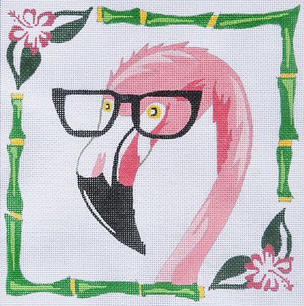 Flamingo with glasses - Canvas Only - 18 mesh