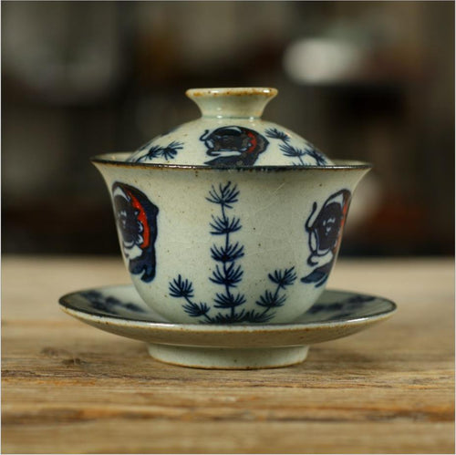 Antique Coarse Blue and White Porcelain, 150cc Gaiwan, Tea Cup