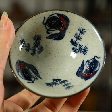 Antique Coarse Blue and White Porcelain, Tea Cup, 70cc, 2 Variations of Gaiwan.