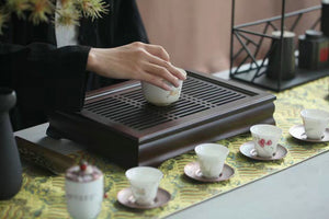 Bamboo Tea Tray with Plastic Water Tank  L37*W26*H7cm - King Tea Mall