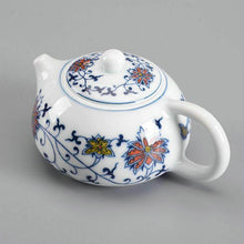 "Load image into Gallery viewer, ""Qing Hua Ci"" (Blue and White Porcelain) Twining Lotus Pattern Tea Pot - King Tea Mall"