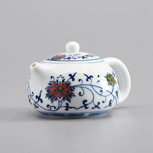 """Qing Hua Ci"" (Blue and White Porcelain) Twining Lotus Pattern Tea Pot - King Tea Mall"