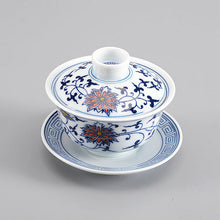 "Load image into Gallery viewer, Tea Cup ""Qing Hua Ci"" (Blue and White Porcelain) Twining Lotus Pattern - King Tea Mall"