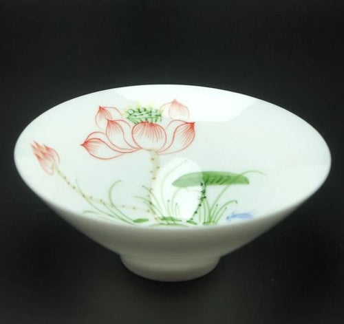 Tea Cup, Wide Mouth,  White Porcelain, Lotus Flower - King Tea Mall