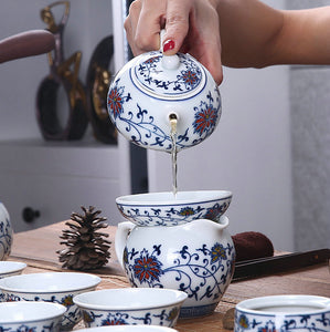 "Tea Strainer / Filter ""Qing Hua Ci"" (Blue and White Porcelain) Twining Lotus Pattern - King Tea Mall"