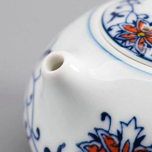 """Qing Hua Ci"" (Blue and White Porcelain) Twining Lotus Pattern Tea Pot / Gong Dao Bei / Tea Strainer"