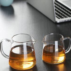 GongDaoBei Chinese Gongfu Tea Ware Glass  Pitcher 300ml / 400ml with Stainless Filter