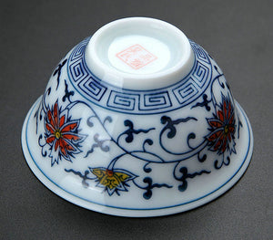 "Tea Cup ""Qing Hua Ci"" (Blue and White Porcelain) Twining Lotus Pattern - King Tea Mall"