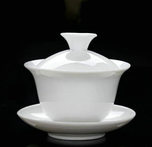 White Porcelain Gaiwan Using Capacity 70-100ml for Chinese Gongfu Chadao - King Tea Mall