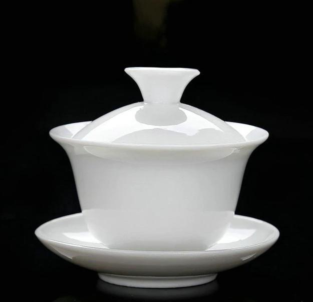 White Porcelain GaiWan Using Capacity 70-100ml for Chinese Gongfu Chadao