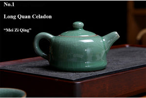 "LongQuan Celadon Tea Pot for Chinese Gongfu Tea 4 Variations ""Ge Kiln"" - King Tea Mall"