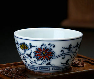 """Qing Hua Ci"" (Blue and White Porcelain) Twining Lotus Pattern Tea Cup /GaiWan"