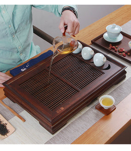 Bamboo Tea Tray / Board / Saucer with Water Tank Two Colors Yellow / Dark - King Tea Mall