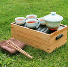 Load image into Gallery viewer, Portable Travel Tea Set with Bamboo Box - King Tea Mall
