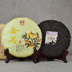 "2016 DaYi ""Jin Guo"" (Golden Fruit) Cake 357g Puerh Shou Cha Ripe Tea - King Tea Mall"