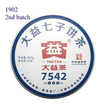 "Load image into Gallery viewer, 2019 DaYi ""7542"" Cake 357g Puerh Sheng Cha Raw Tea"