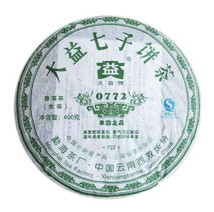 "2007 DaYi ""0772"" Cake 357g Puerh Sheng Cha Raw Tea - King Tea Mall"