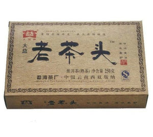 "2009 DaYi ""Lao Cha Tou"" (Old Tea Head) Brick 250g Puerh Shou Cha Ripe Tea - King Tea Mall"