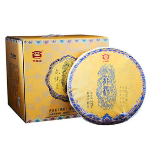 "2017 DaYi ""Long Zhu"" (Dragon Pillar) Cake 357g Puerh Shou Cha Ripe Tea - King Tea Mall"