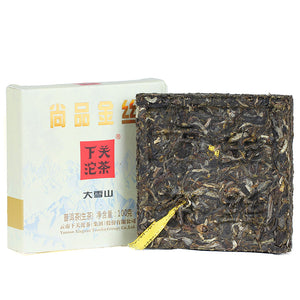 "2017 XiaGuan ""ShangPin JinSi DaXueShan"" (Golden Ribbon Big Snow Mountain) Brick 100g Puerh Raw Tea Sheng Cha - King Tea Mall"