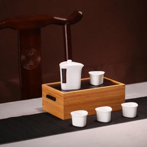 "Portable Travelling Tea Sets with Bamboo Tea Tray Box ""One Pot + 4 Cups"""