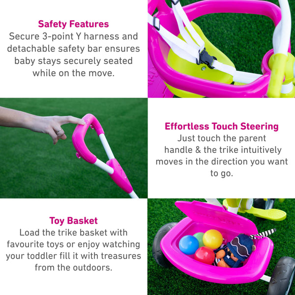 SmarTrike Zip Tricycle Product Details - Pink-Green-2