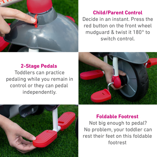 Red Fisher Price Charm Plus three-stage tricycle for kids - product details part one