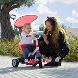 smartrike fisher price 3 in 1 charm plus red baby tricycle with baby girl riding and mother