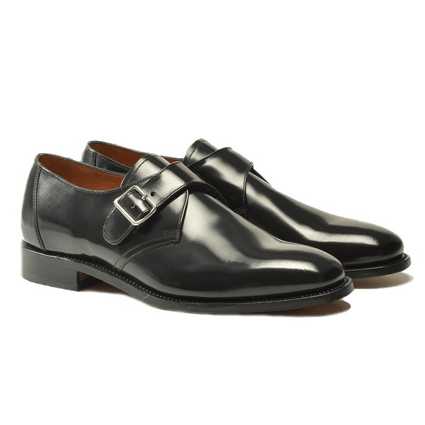 Black Polished Leather Monk Strap Shoes