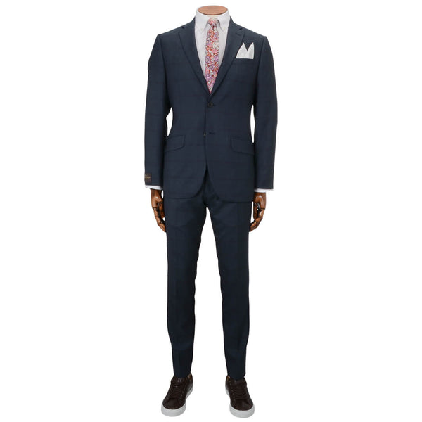 Blue with Burgundy Check Vitale Barberis Canonico Suit - Gagliardi