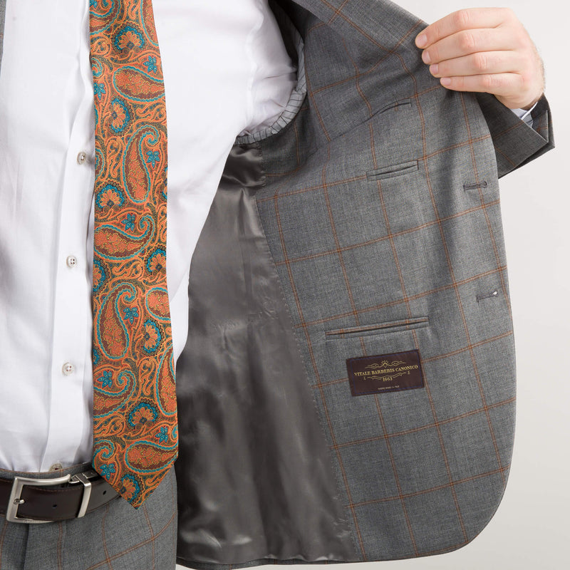 Grey with Tan Check Vitale Barberis Canonico Suit