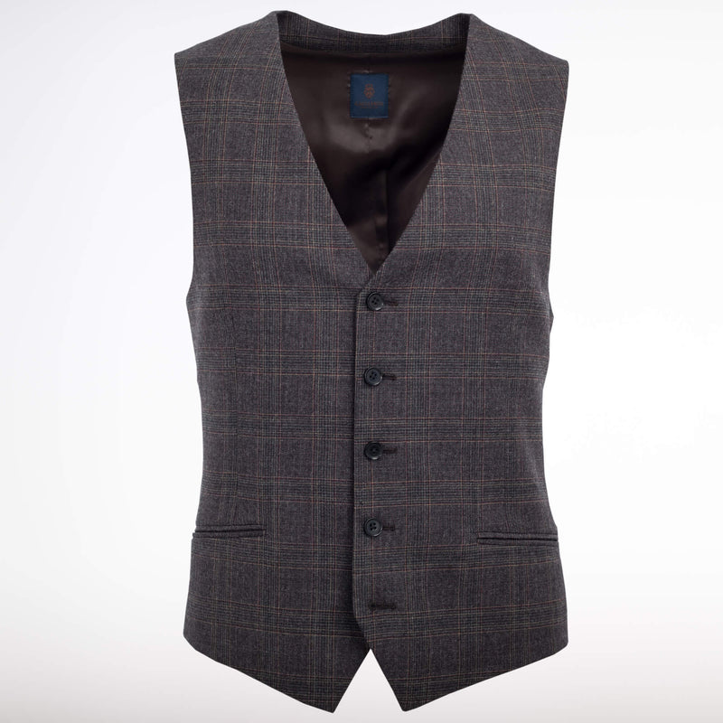 Grey And Brown Glen Check Waistcoat