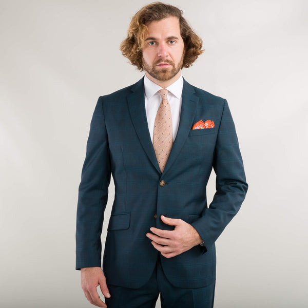 Petrol Green Tonal Windowpane Suit