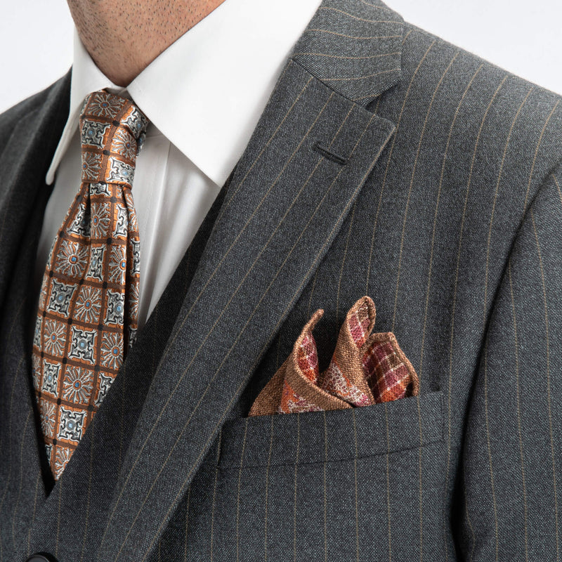 Grey With Brown Pin Stripe Waistcoat
