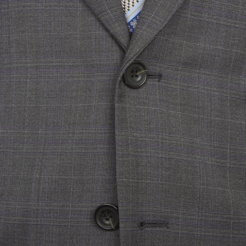 Lanificio F.lli Cerruti Grey & Purple Prince of Wales Two-Piece Suit