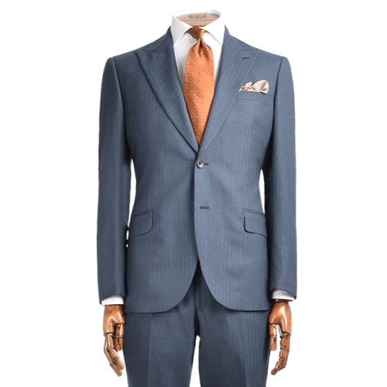 Lanificio F.lli Cerruti Mid Blue With Tobacco Stripe Two-Piece Suit - Gagliardi