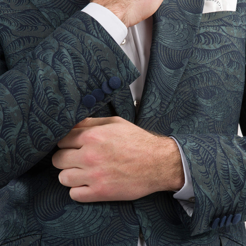 Green Waves Jacquard Evening Jacket