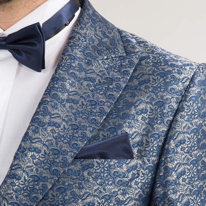 Blue and Silver Floral Evening Jacket
