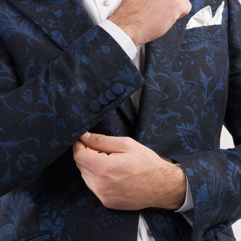 Blue Floral Jacquard Evening Jacket