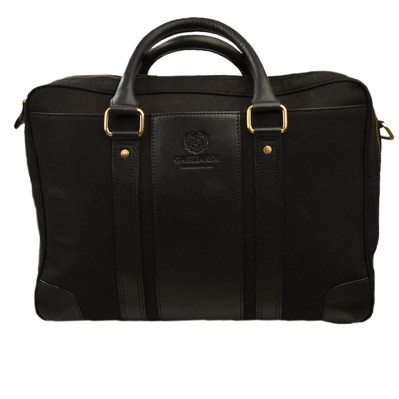 Black Canvas Jacquard Cotton Briefcase - Gagliardi