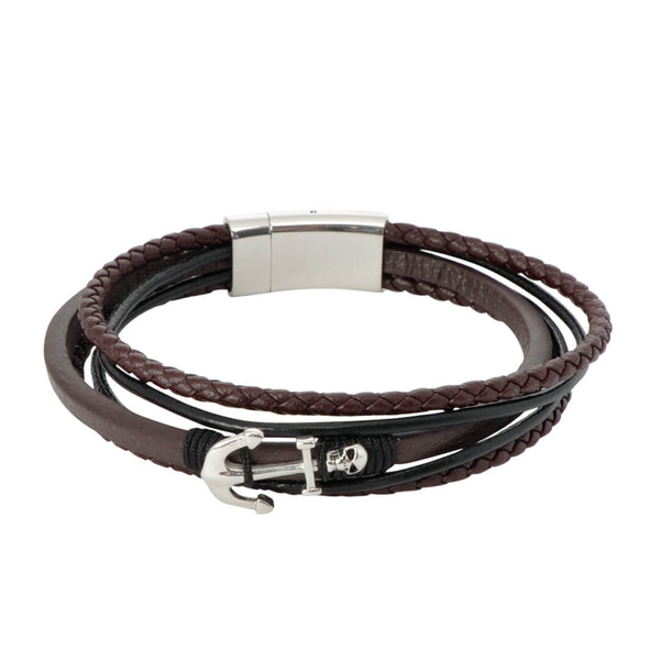 Brown Anchor Leather Bracelet
