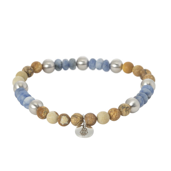 Orange, Stone & Sky Beaded Bracelet - Gagliardi