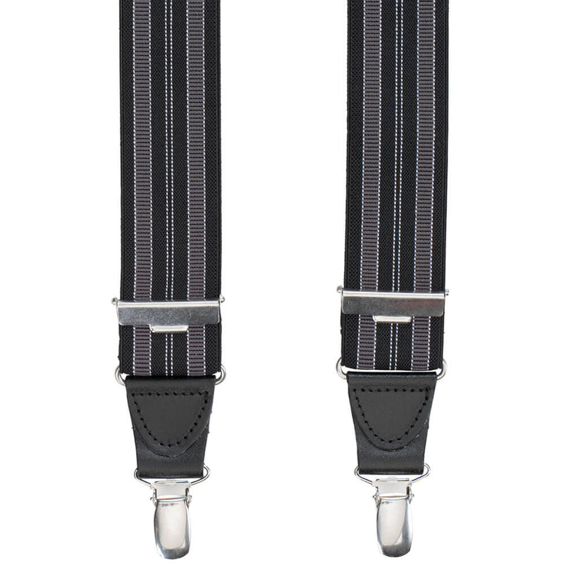 Black & Grey Striped Braces - Gagliardi